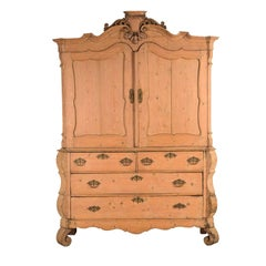 Rare Pale Pink Dutch Country Cabinet