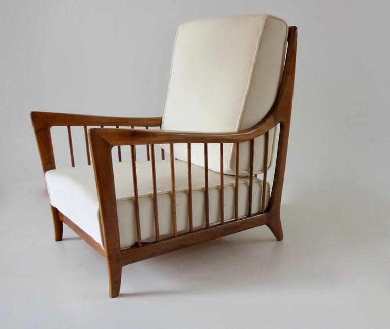 Rare Paolo Buffa White Cherrywood Armchair 118/F, 1950 For Sale 3