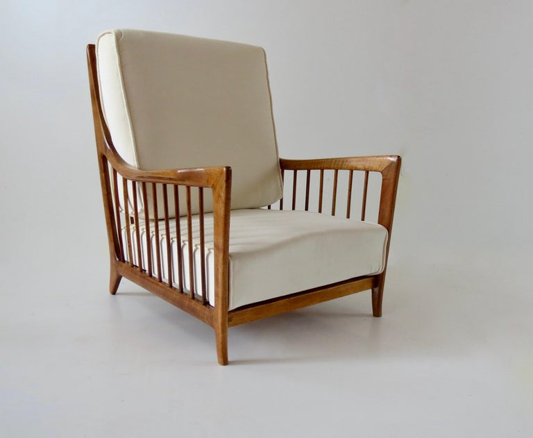 Mid-Century Modern Rare Paolo Buffa White Cherrywood Armchair 118/F, 1950 For Sale