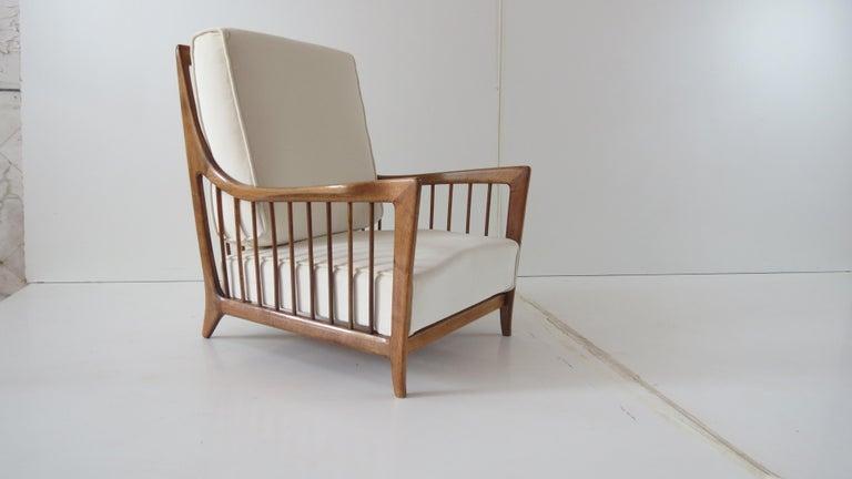 Italian Rare Paolo Buffa White Cherrywood Armchair 118/F, 1950 For Sale