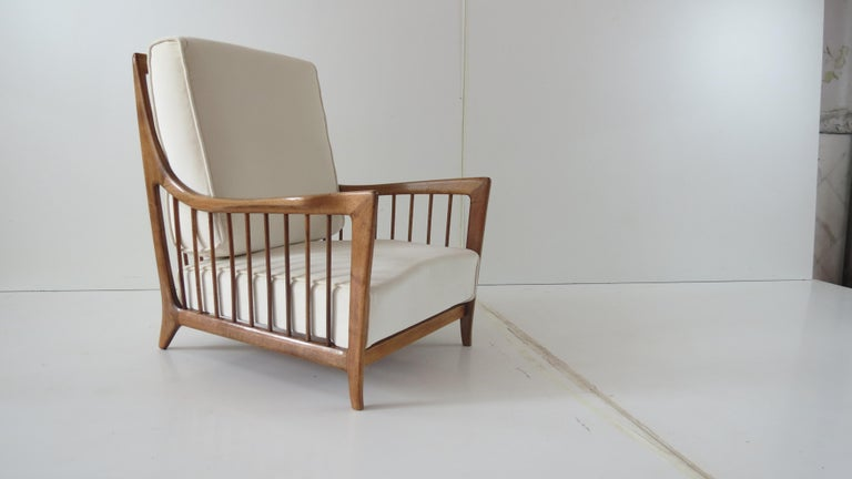 Rare Paolo Buffa White Cherrywood Armchair 118/F, 1950 In Good Condition For Sale In Rome, IT