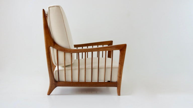 Mid-20th Century Rare Paolo Buffa White Cherrywood Armchair 118/F, 1950 For Sale