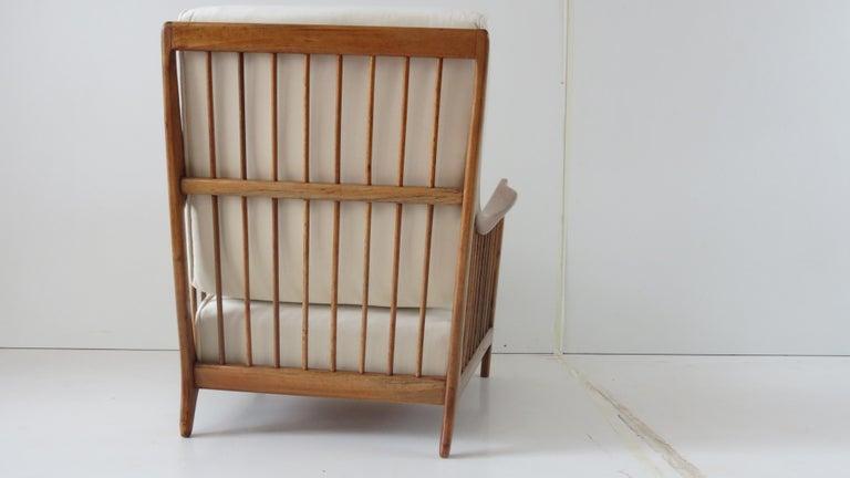 Velvet Rare Paolo Buffa White Cherrywood Armchair 118/F, 1950 For Sale