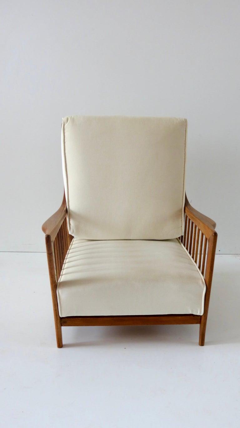 Rare Paolo Buffa White Cherrywood Armchair 118/F, 1950 For Sale 1