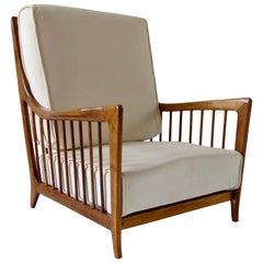 Rare Paolo Buffa White Cherrywood Armchair 118/F, 1950