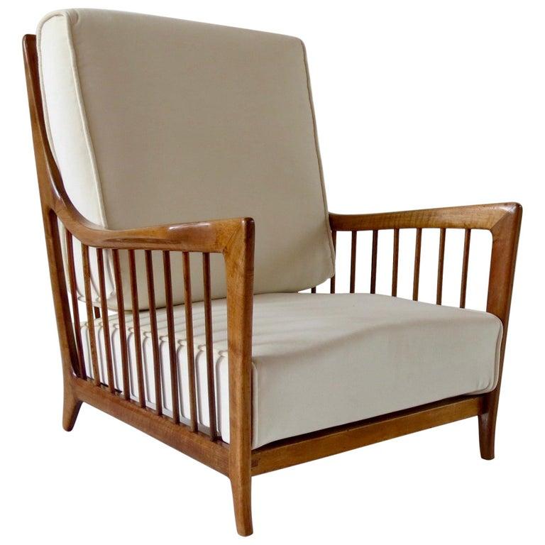 Rare Paolo Buffa White Cherrywood Armchair 118/F, 1950 For Sale