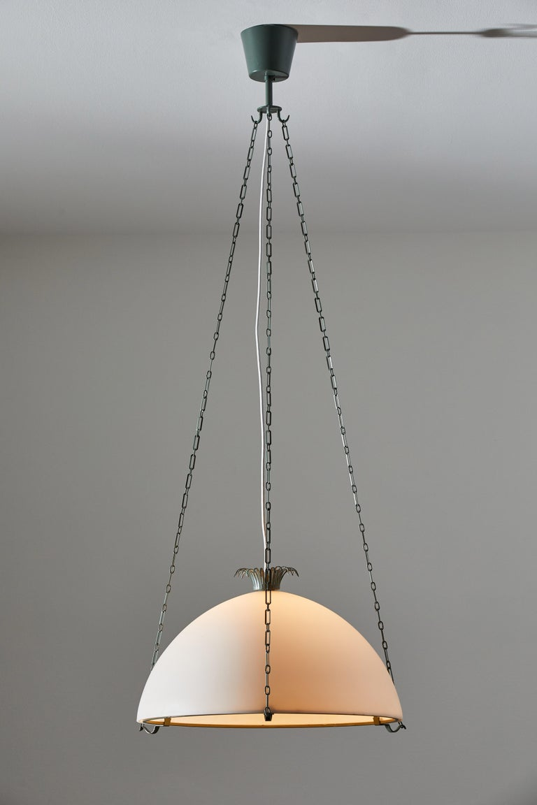 Rare parachute suspension light by Erik Gunnar Asplund. Designed and manufactured in Sweden, circa mid-1920s mid-1930s. Enameled metal armature and chain, brushed satin glass diffuser. Rewired for U.S. junction boxes. Takes one E27 100w maximum