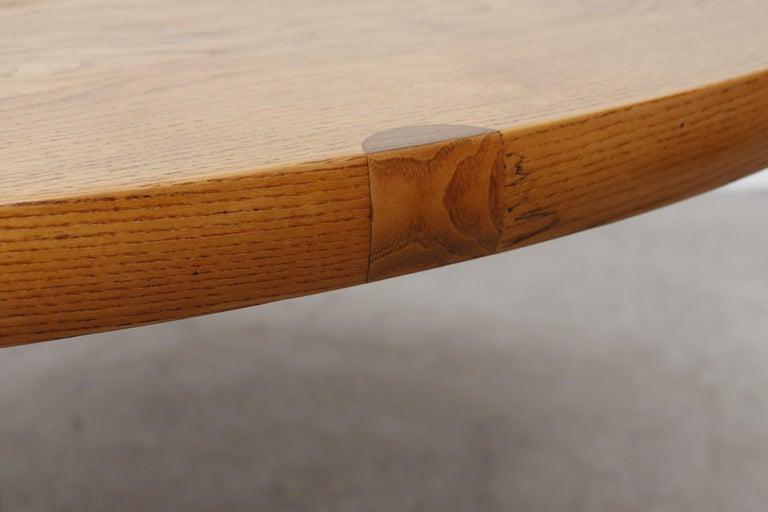 Rare Pastoe Round Oak Pedestal Dining or Center Table For Sale 2