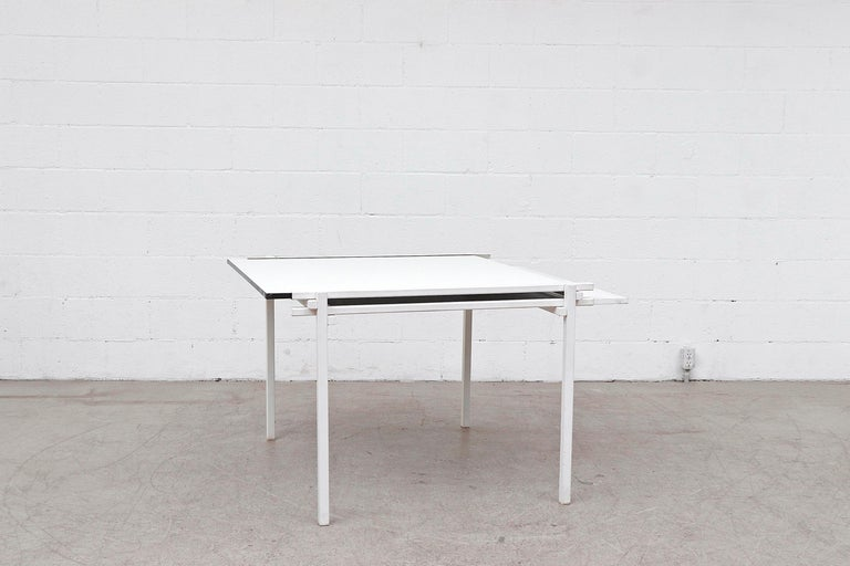 Mid-Century Modern Rare Pastoe White Enameled Dining Table For Sale