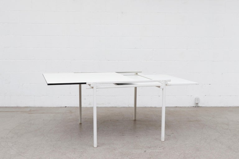 Dutch Rare Pastoe White Enameled Dining Table For Sale