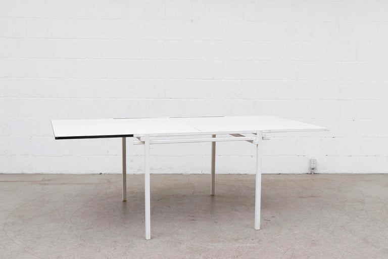 Rare Pastoe White Enameled Dining Table In Good Condition For Sale In Los Angeles, CA
