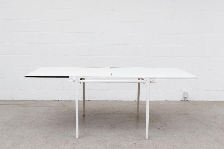 Mid-20th Century Rare Pastoe White Enameled Dining Table For Sale