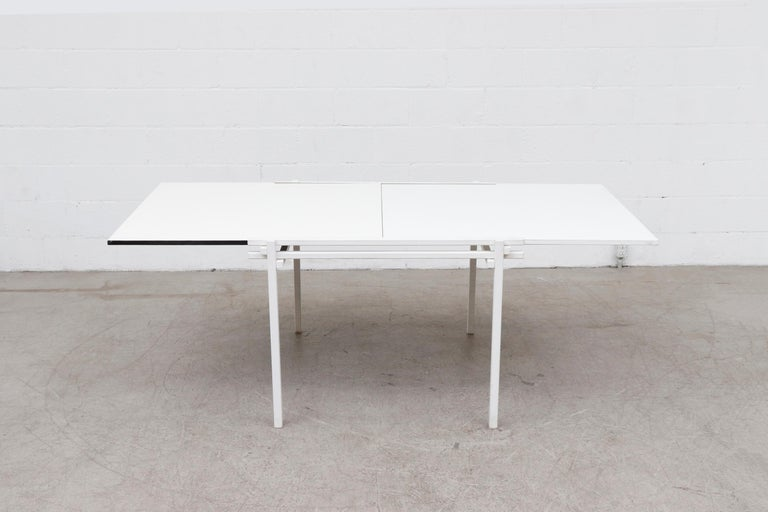 Formica Rare Pastoe White Enameled Dining Table For Sale