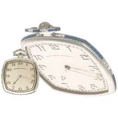 Rare Patek Philippe 1930s Platinum Sapphire and Diamond Factory Set Pocket Watch