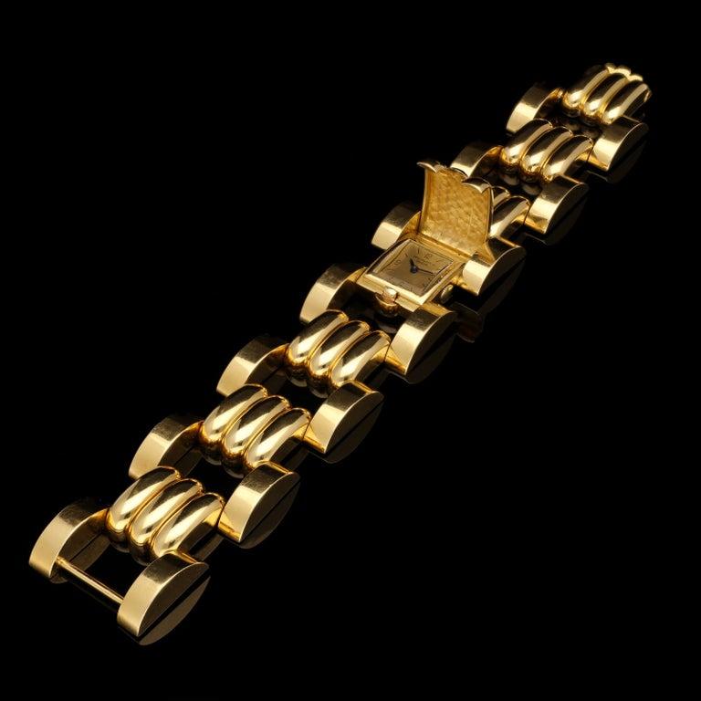 Rare Patek Philippe Retro Tank Cuff Bracelet Watch, 1942 For Sale 2