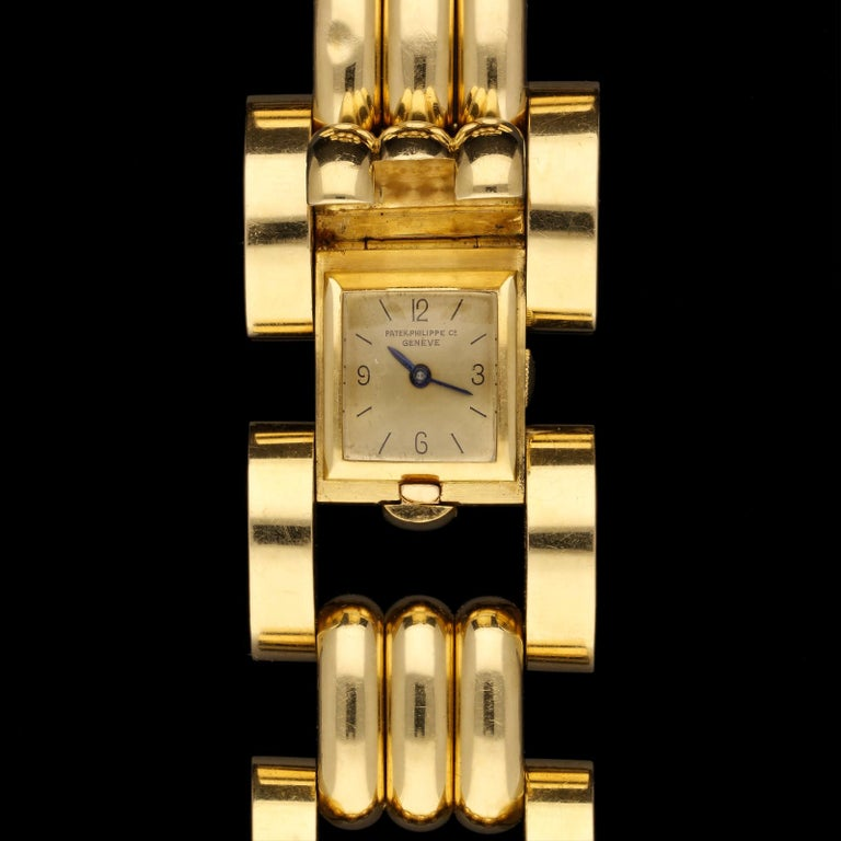 Rare Patek Philippe Retro Tank Cuff Bracelet Watch, 1942 For Sale 3