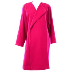 Rare Patrick Kelly Vintage 1980s Cashmere Wool Blend Hot Pink Coat
