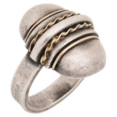 Rare Paul Bablet Art Deco Silver and Gold Ring, circa 1930