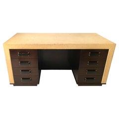 Rare Paul Frankl Cork and Mahogany Kneehole Desk