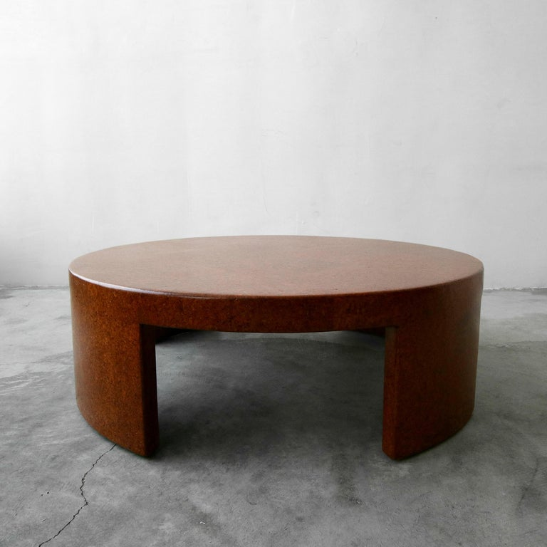 Rare Paul Frankl Round Cork Coffee Table In Excellent Condition For Sale In Las Vegas, NV