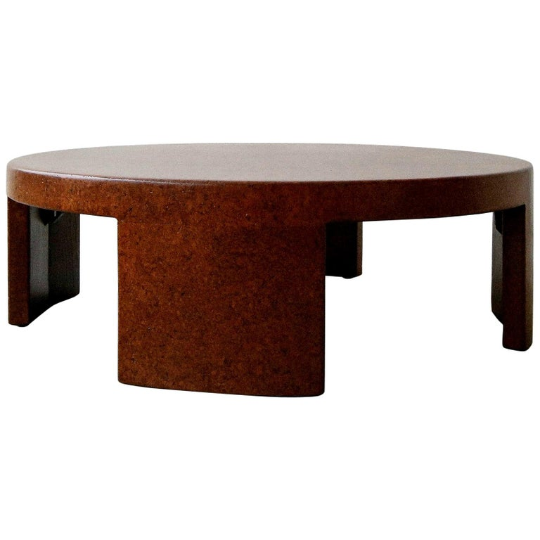 Rare Paul Frankl Round Cork Coffee Table For Sale