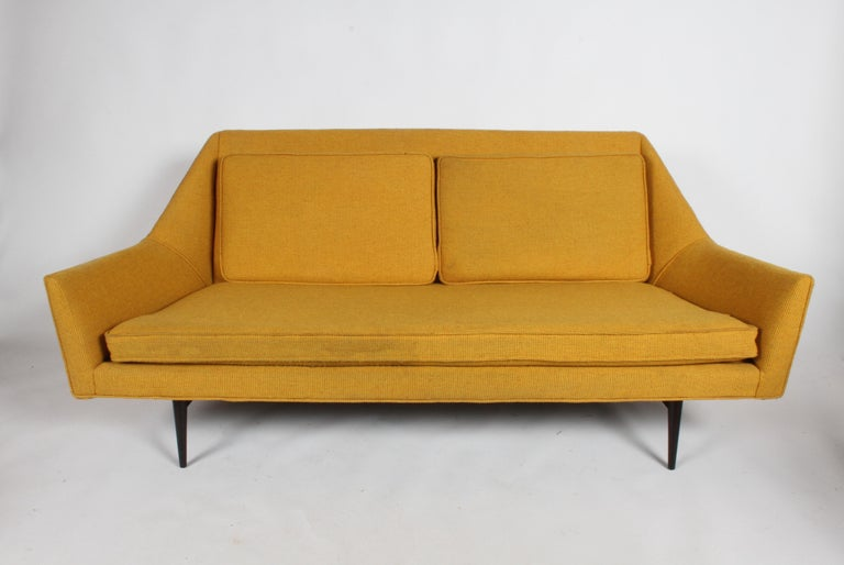 Rare Paul McCobb cubist sofa or settee for custom craft Inc. Legs have been refinished, older reupholstery and foam must be updated. Great geometric lines on this sofa, a rarely seen form. Email for a quote on reupholstery.   Measures: Seating