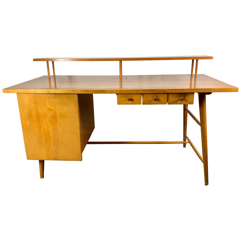 Rare Paul McCobb Desk in Maple, 1950s, Multi-Level, Classic Modernist Design