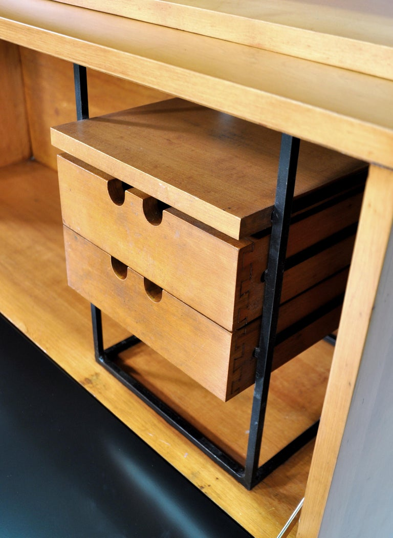 Amazing Mid-Century Modern maple and brass secretary or bar cabinet, designed by Paul McCobb for Planner Group and manufactured by Winchendon Furniture in the early 1950s. The set includes a #1504 double chest that can work as a sideboard or