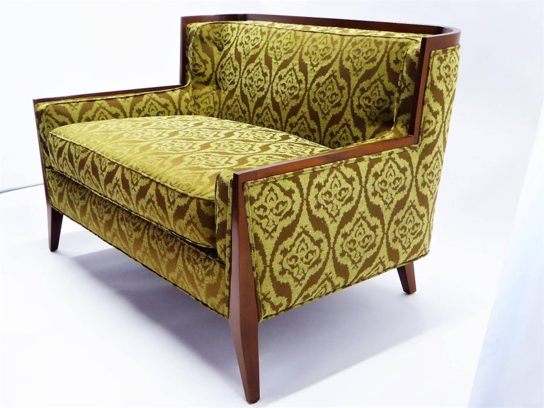 REDUCED FROM $6,500....Rare to market Paul McCobb for Directional loveseat sofa restored and newly upholstered in a jacquard damask in green & brown. A smaller version of sofa model 407. Model 407 was manufactured in small numbers due to the