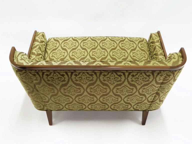Mid-20th Century Rare Paul McCobb Loveseat Sofa with Walnut Frame