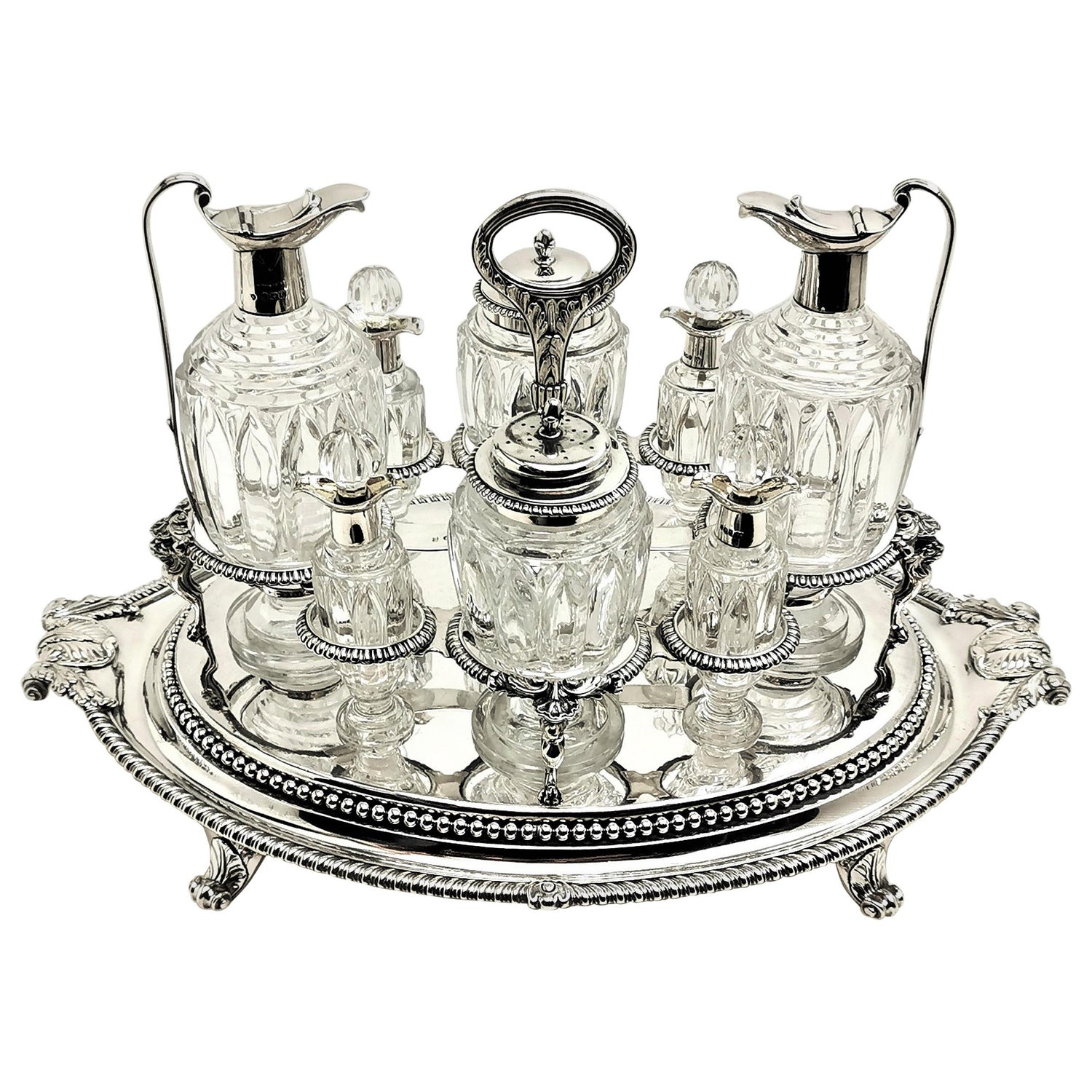 Rare Paul Storr Antique Georgian Silver & Class Cruet Stand Condiment Set 1806