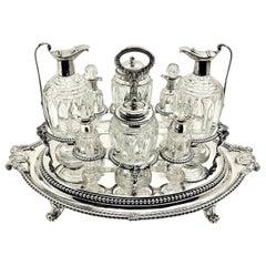 Rare Paul Storr Antique Georgian Silver & Class Cruet Stand Condiment Set 1806