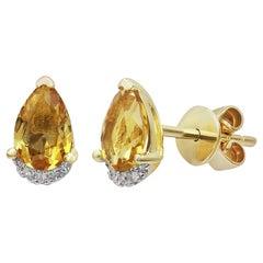 Rare Pear Cut Yellow Citrine White Diamond Yellow Gold Stud Earrings