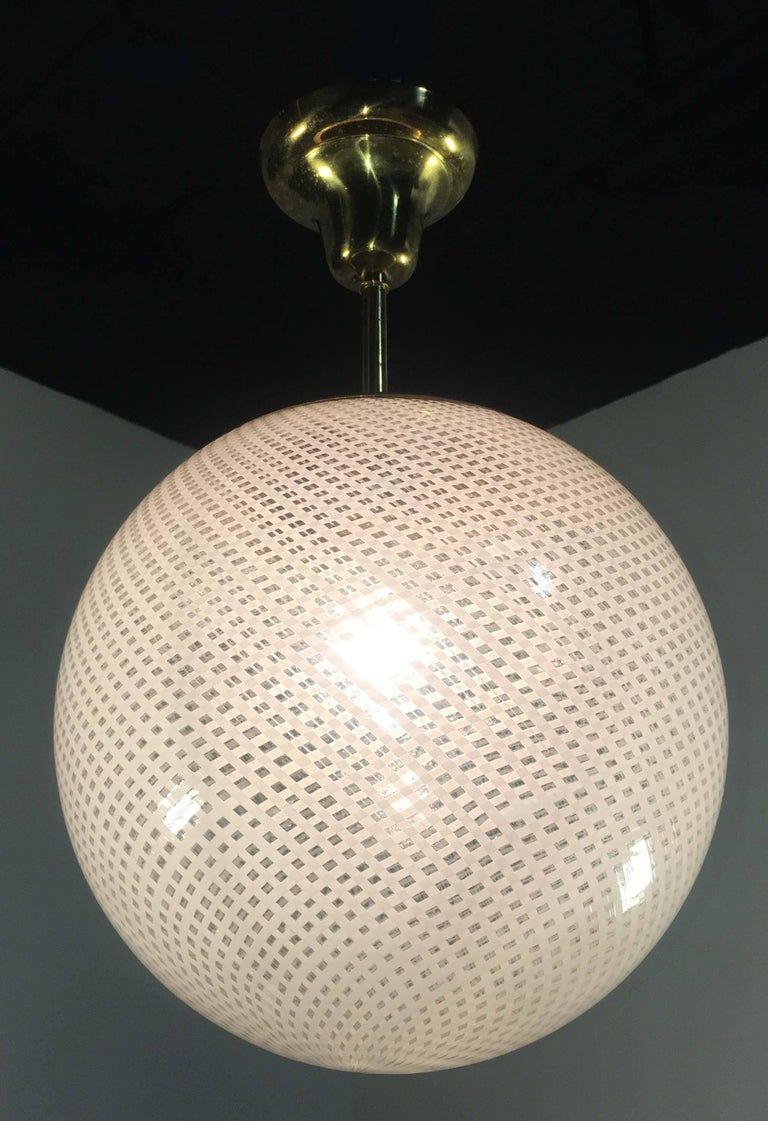 Globe Chandelier Reticello attibuited to Carlo Scarpa per Venini, Murano, 1950s For Sale 5