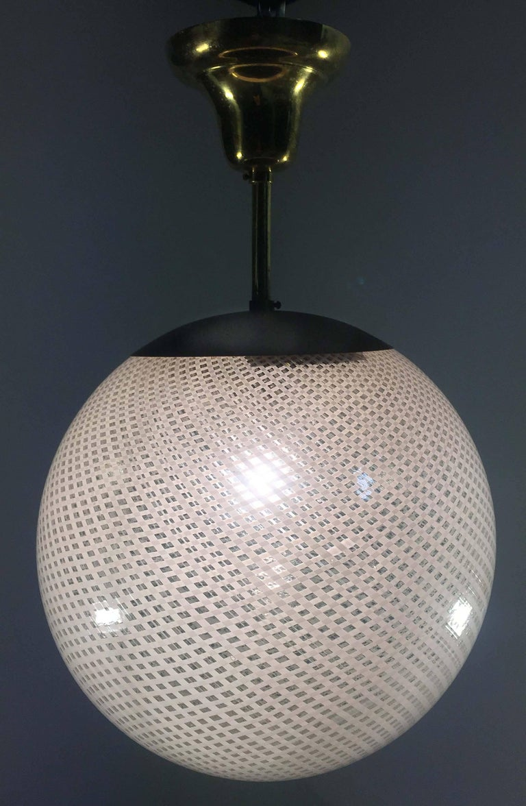 Globe Chandelier Reticello attibuited to Carlo Scarpa per Venini, Murano, 1950s For Sale 8