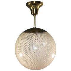 """Rare Pendant Globe Chandelier """"Reticello"""" by Venini, Murano, 1950s"""