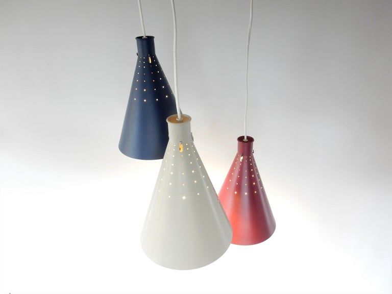 Lacquered Rare Pendant Lamp by Alf Svensson for Bergboms, Sweden, 1950s For Sale