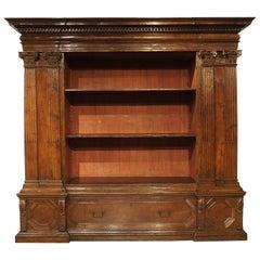 Rare Period Italian Renaissance Walnut Wood Armadio Bookcase