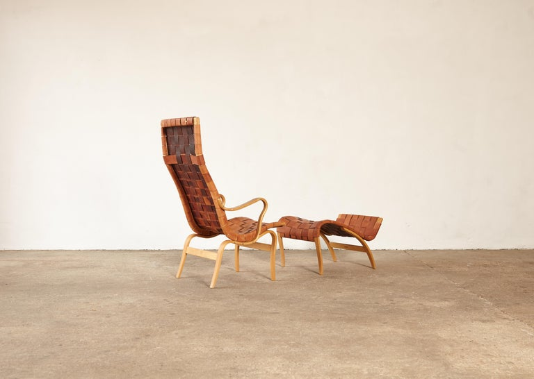 Rare Pernilla Chair in Original Leather by Bruno Mathsson, Sweden, 1950s 3