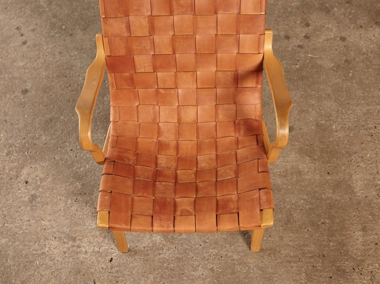 Rare Pernilla Chair in Original Leather by Bruno Mathsson, Sweden, 1950s 10