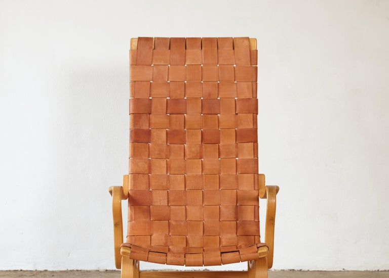 Rare Pernilla Chair in Original Leather by Bruno Mathsson, Sweden, 1950s 11