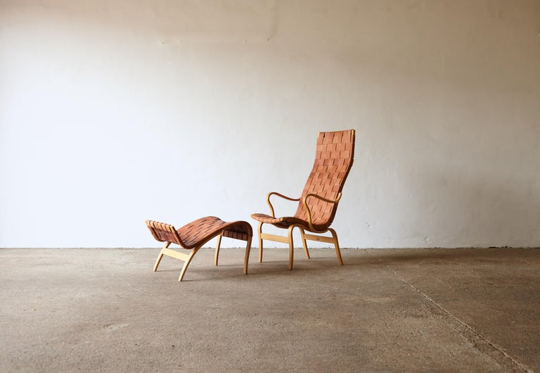 Rare Pernilla chair by Bruno Mathsson, for Firma Karl Mathsson, Sweden, 1950s. Beech plywood and original leather. Signed with branded manufacturer's mark. Fast shipping worldwide - please contact us for a competitive quote.  Chair dimensions: H