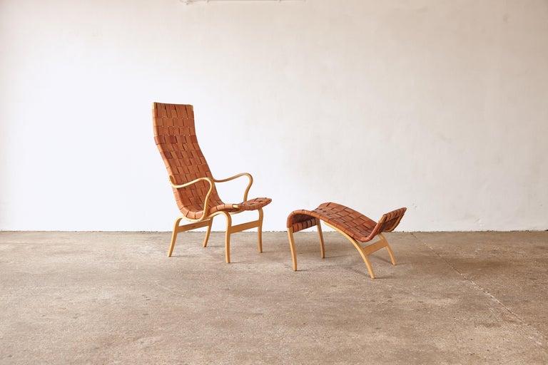 Mid-Century Modern Rare Pernilla Chair in Original Leather by Bruno Mathsson, Sweden, 1950s