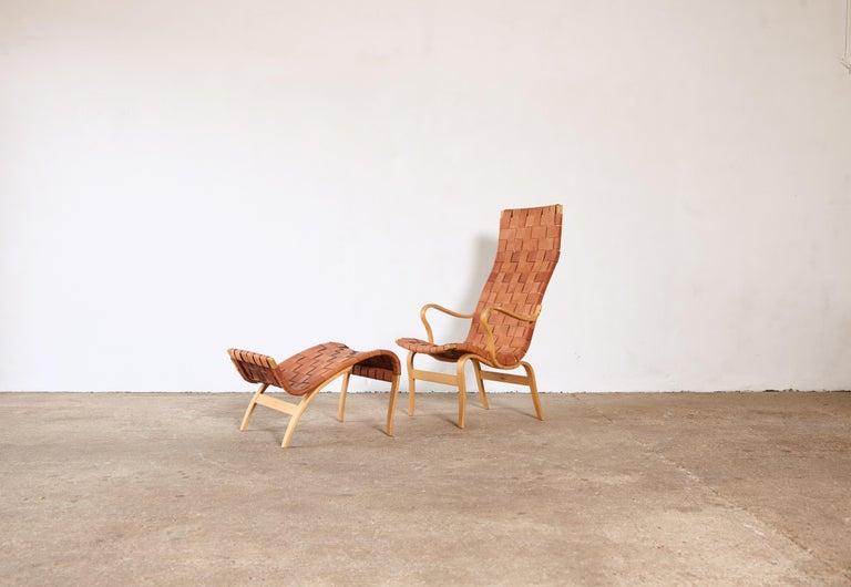 Swedish Rare Pernilla Chair in Original Leather by Bruno Mathsson, Sweden, 1950s