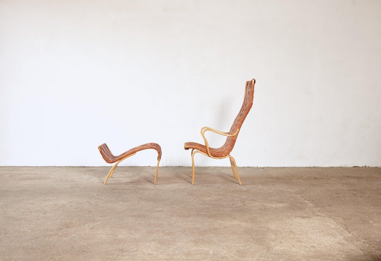 Rare Pernilla Chair in Original Leather by Bruno Mathsson, Sweden, 1950s In Good Condition In London, GB