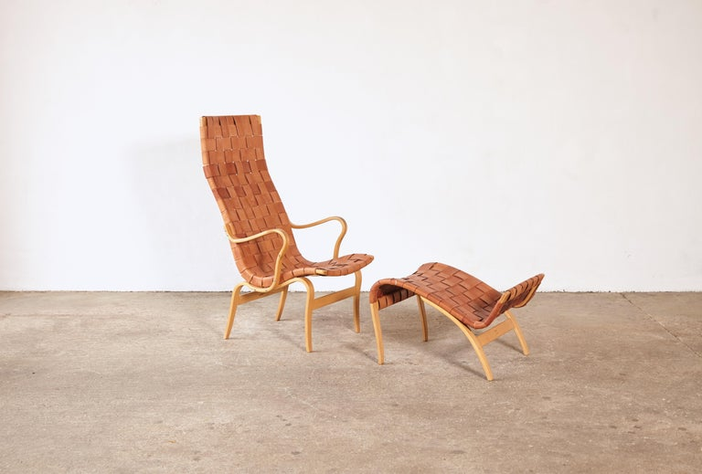 20th Century Rare Pernilla Chair in Original Leather by Bruno Mathsson, Sweden, 1950s
