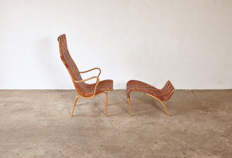 Beech Rare Pernilla Chair in Original Leather by Bruno Mathsson, Sweden, 1950s