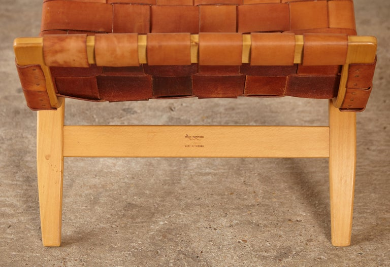 Rare Pernilla Chair in Original Leather by Bruno Mathsson, Sweden, 1950s 1