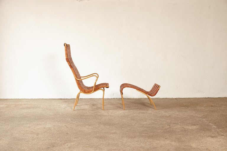 Rare Pernilla Chair in Original Leather by Bruno Mathsson, Sweden, 1950s 2