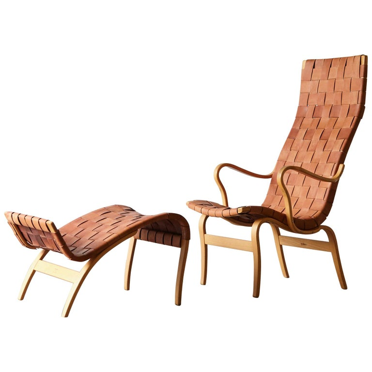 Rare Pernilla Chair in Original Leather by Bruno Mathsson, Sweden, 1950s
